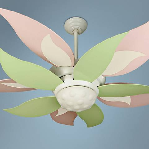 "52"" Craftmade Bloom Pink and Green Ceiling Fan with Light"