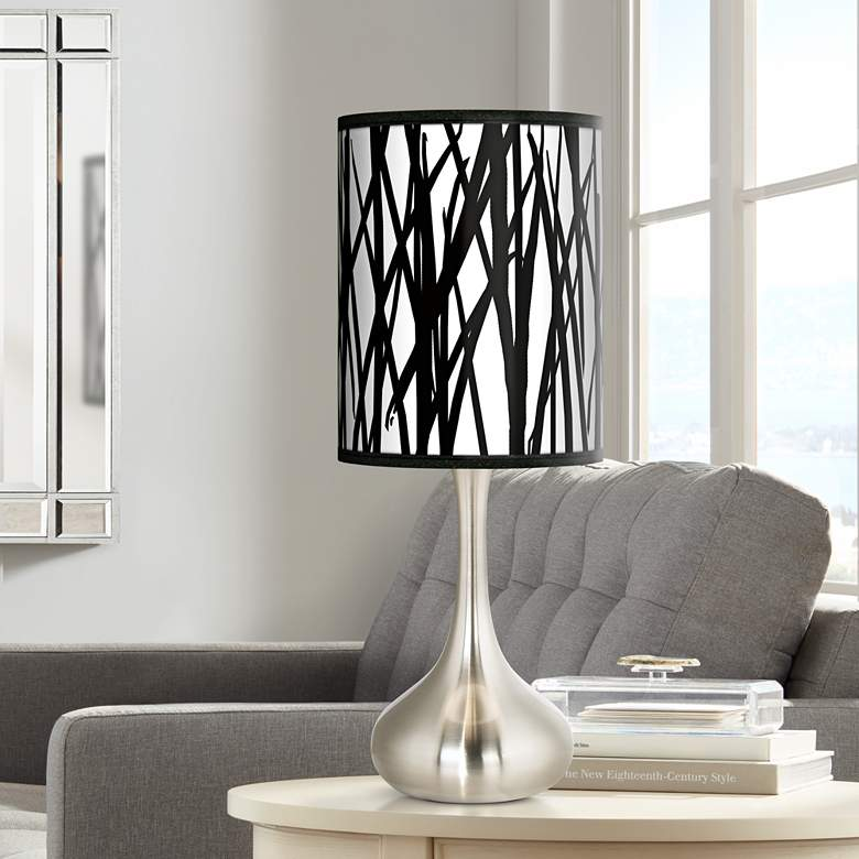 Black Jagged Stripes Giclee Droplet Table Lamp