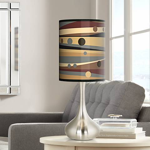 Natural Dots & Waves Giclee Droplet Table Lamp