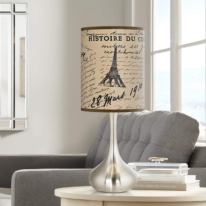 Letters To Paris Linen Giclee Droplet Table Lamp