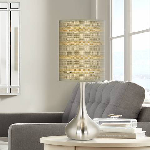 Woven Reed Giclee Droplet Table Lamp