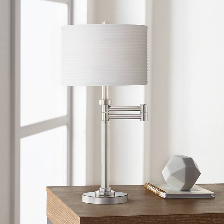 Brushed Nickel Pleated Shade Swing Arm Desk Lamp