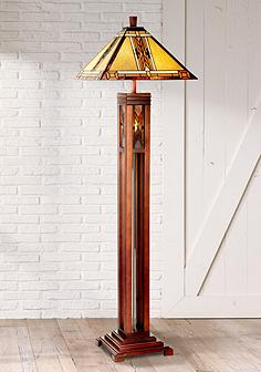Wood rustic lodge floor lamps lamps plus walnut mission tiffany style night light floor lamp mozeypictures Choice Image