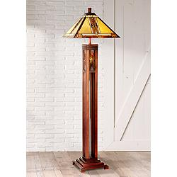 Walnut Mission Tiffany Style Floor Lamp with Night Light