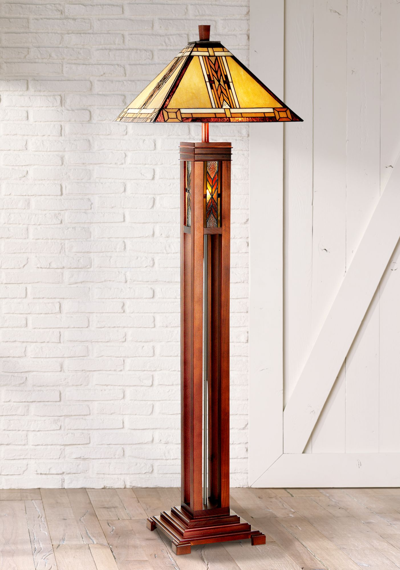 Merveilleux Walnut Mission Tiffany Style Night Light Floor Lamp
