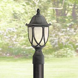 "Capella 19 1/4""H Crackled Glass Black Outdoor Post Light"