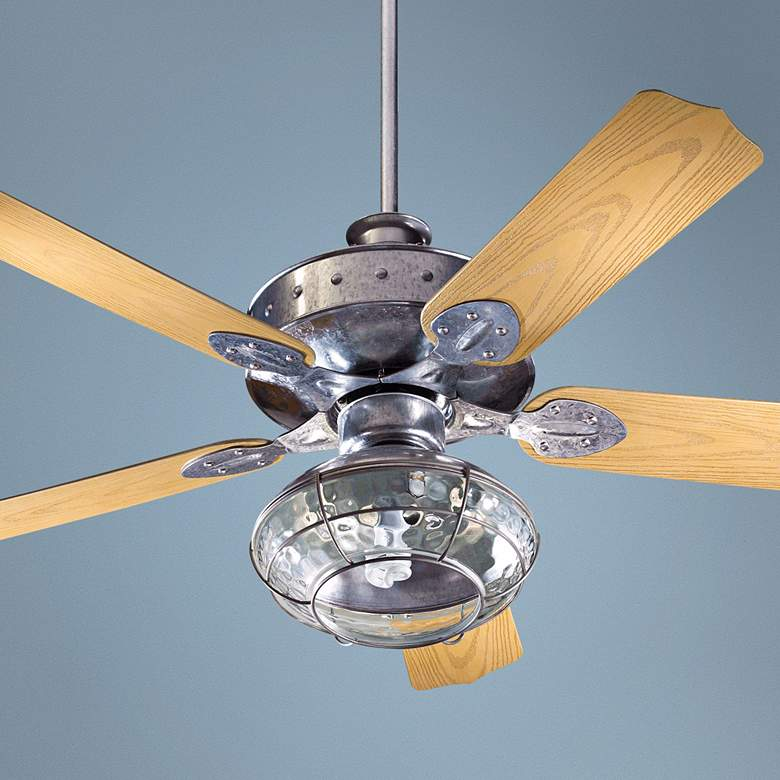 "52"" Quorum Hudson Galvanized Patio Ceiling Fan with"