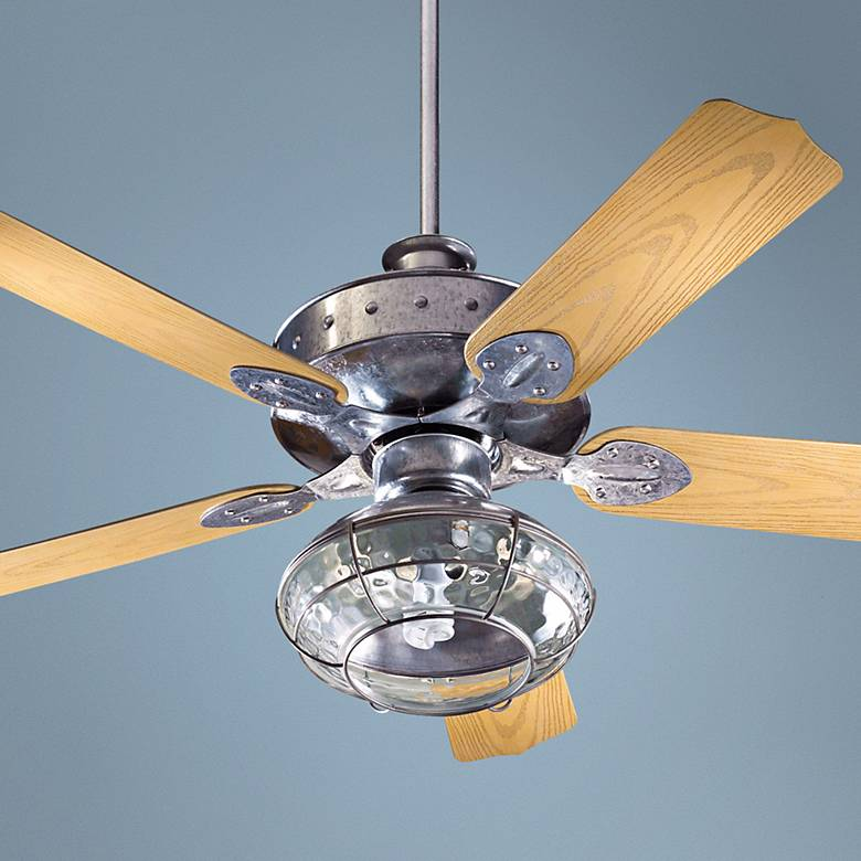 "52"" Quorum Hudson Galvanized Patio Ceiling Fan with Light"