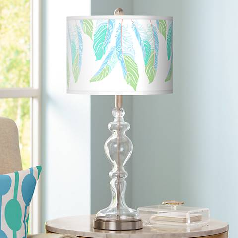 Light as a Feather Giclee Apothecary Clear Glass Table Lamp