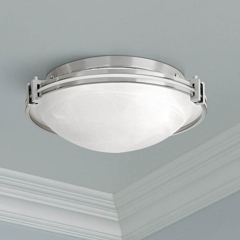 "Possini Euro Design Nickel 16 3/4"" Wide Ceiling Fixture"