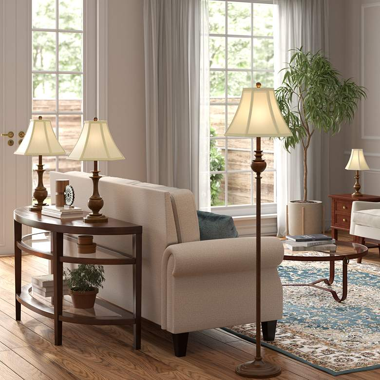 Traditional Font Table and Floor Lamps Set of 4