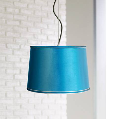 "Satin Turquoise Shade 16"" Wide Pendant Light"