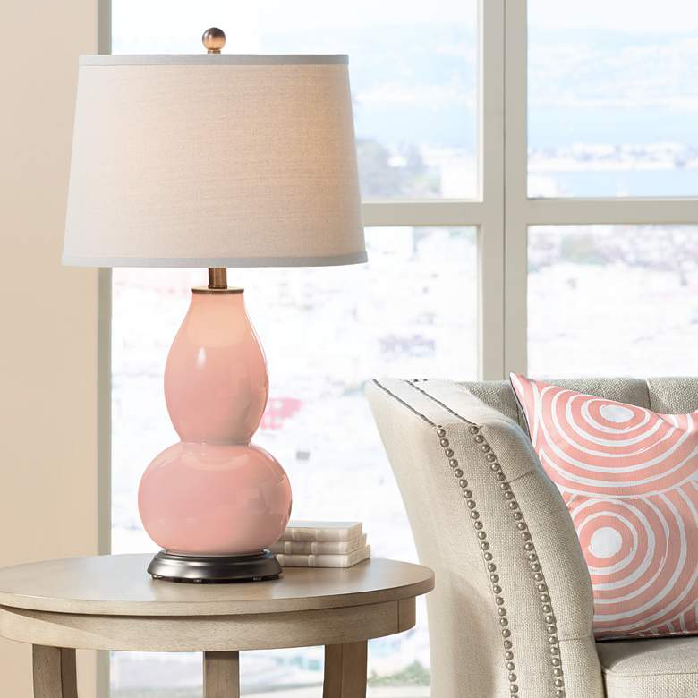 Mellow Coral Double Gourd Table Lamp
