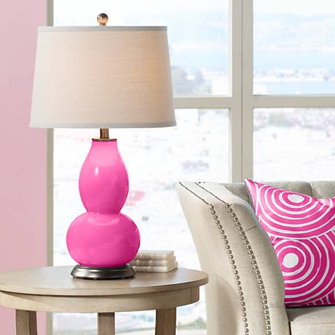 Fuchsia Double Gourd Table Lamp