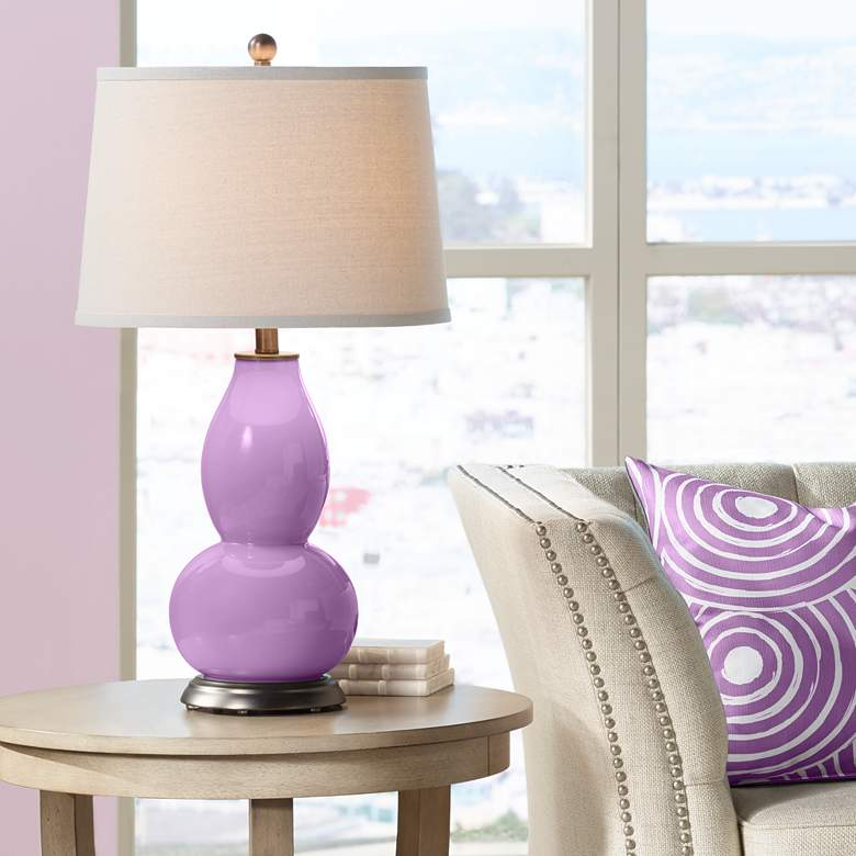 African Violet Double Gourd Table Lamp