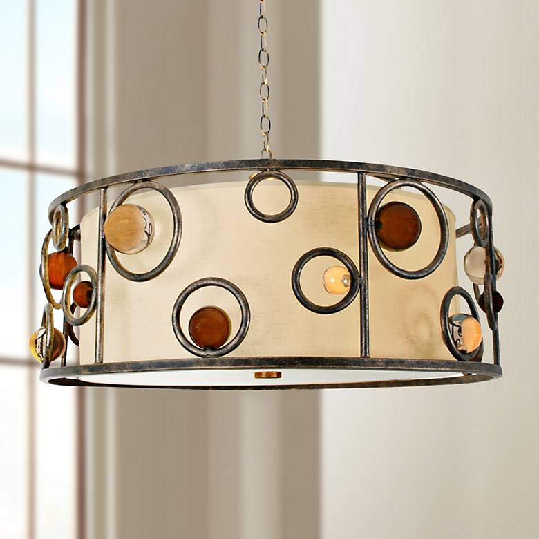 "Free Wheeling 32"" Wide Golden Ochre Drum Pendant Light"