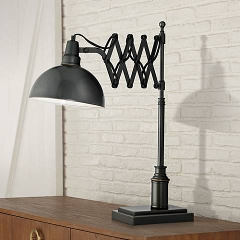 Lite Source Armstrong Accordion Arm Bronze Desk Lamp