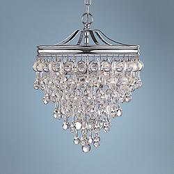 "Calypso 12"" Wide Crystal and Chrome Chandelier"