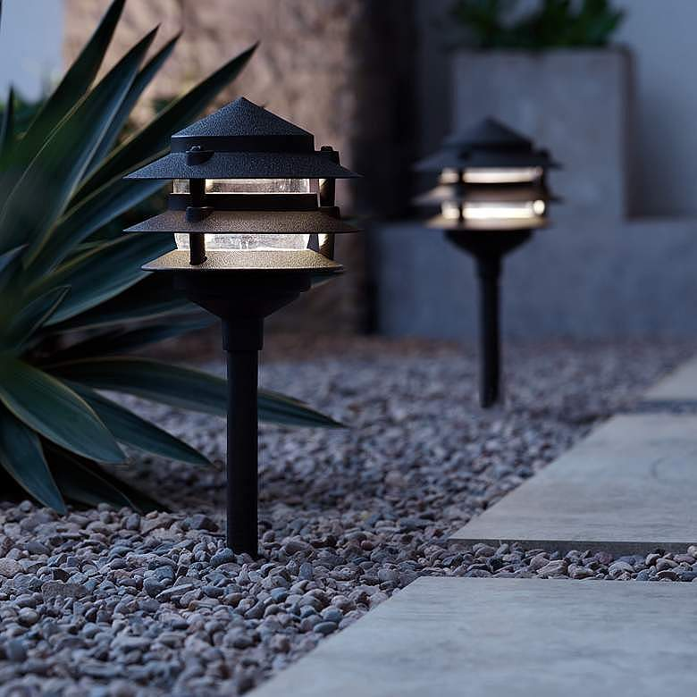 "Three-Tier Pagoda 17 3/4""H Black LED Landscape Path Light"