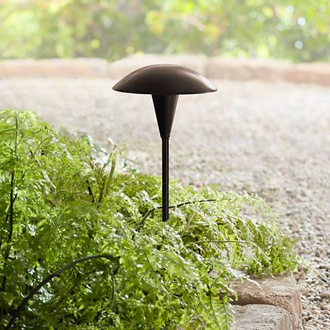 Large Mushroom Low Voltage Bronze LED Landscape Path Light - #2C494 on