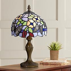 "Butterfly And Flower 14"" High Tiffany Accent Lamp"