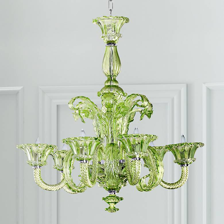 La Scala Green Glass Chandelier
