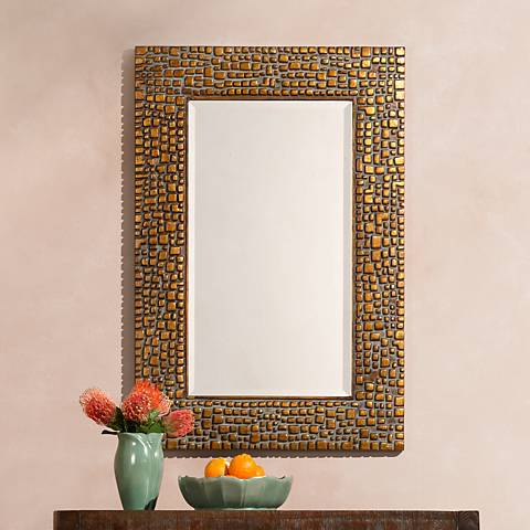 "Savla Textured Relief Bronze 24"" x 36"" Wall Mirror"