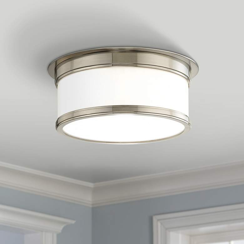 "Hudson Valley Geneva 12 1/4""W Satin Nickel Ceiling Light"