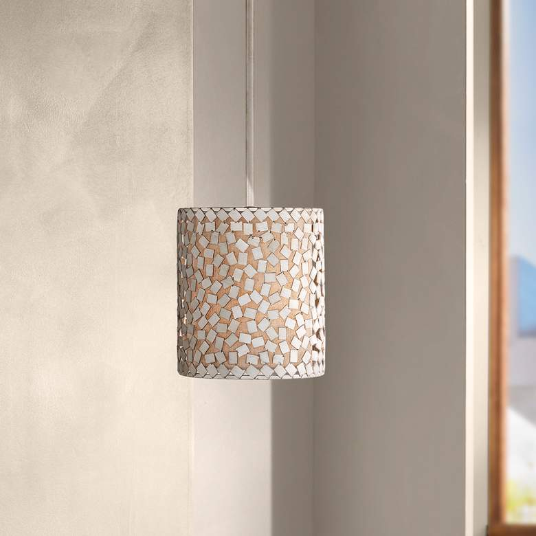 "Quoizel Confetti 8"" Wide Old Silver Mini Pendant Light"