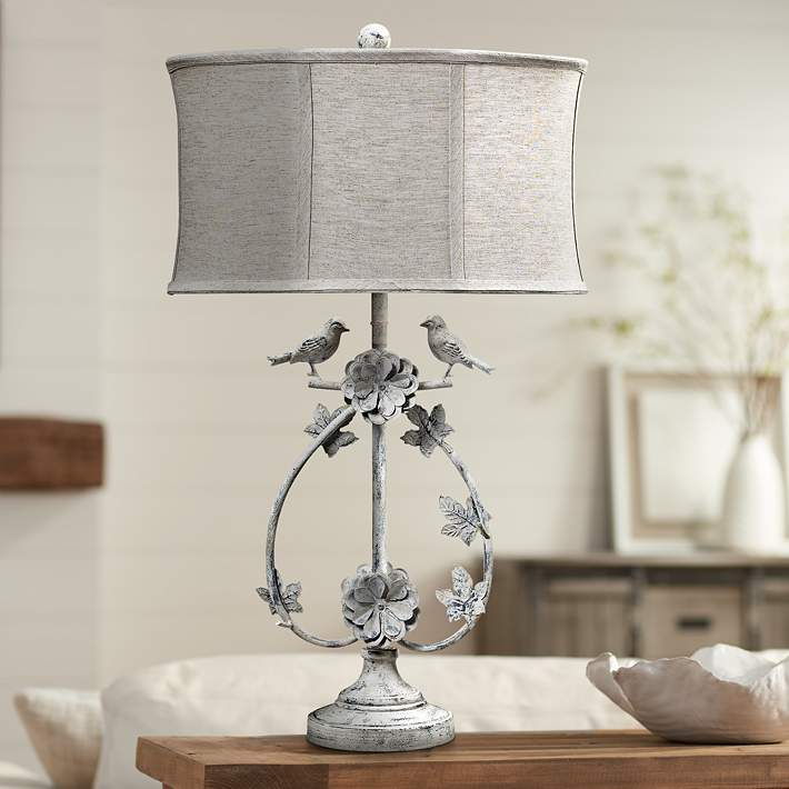 Antique White Love Birds Table Lamp