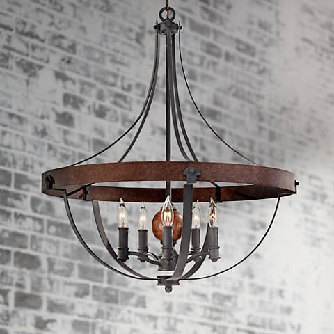 "Feiss Alston 24"" Wide Rustic Industrial Chandelier"