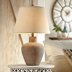 Bentley Brown Leaf Hammered Pot Table Lamp