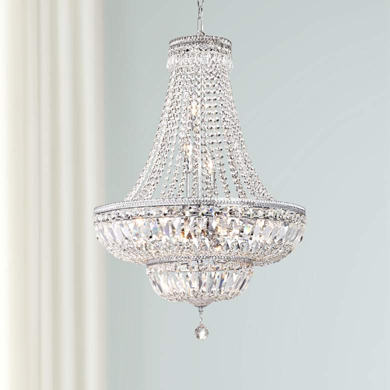 "James Moder Ibiza 24""W Silver 11-Light Crystal Chandelier"