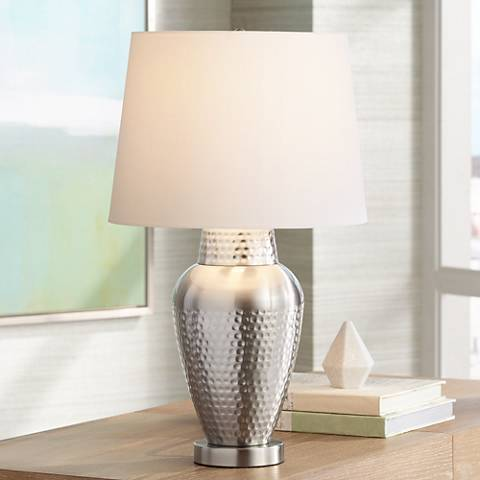 Rupert Brushed Nickel Hammered Metal Table Lamp