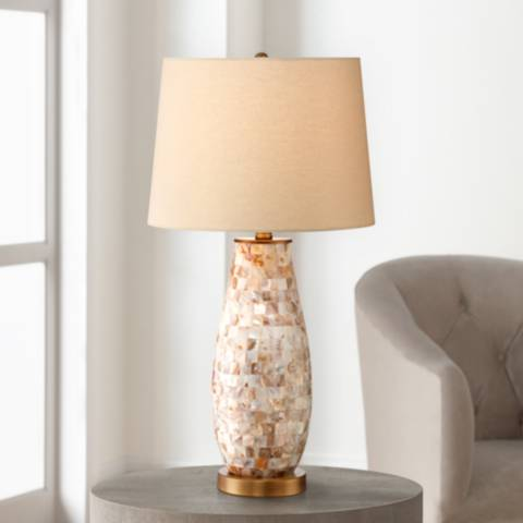 Kylie Mother Of Pearl Tile Vase Table Lamp 2h116