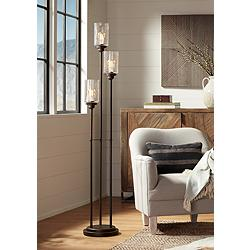 Libby Oiled Bronze 3-Light Seeded Glass Floor Lamp