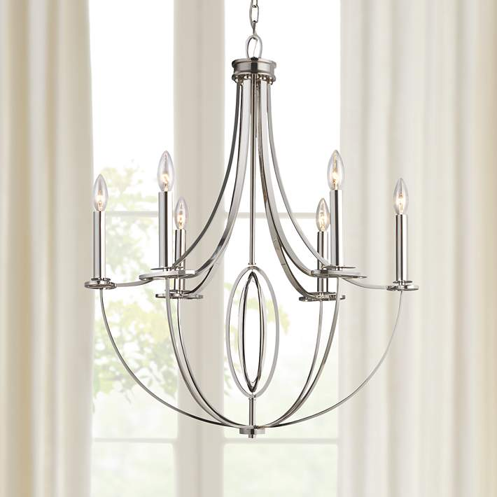 Dione 6 Light 25 Wide Polished Nickel