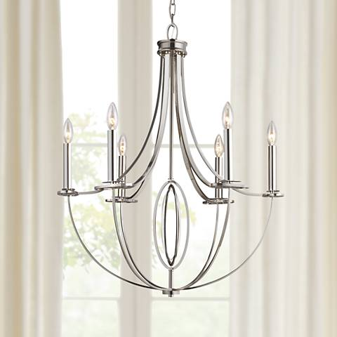 "Dione 6-Light 25"" Wide Polished Nickel Chandelier"