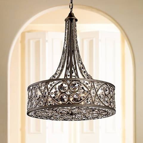 Amherst 6 light 20 wide antique bronze pendant light 2h542 amherst 6 light 20 wide antique bronze pendant light aloadofball Choice Image