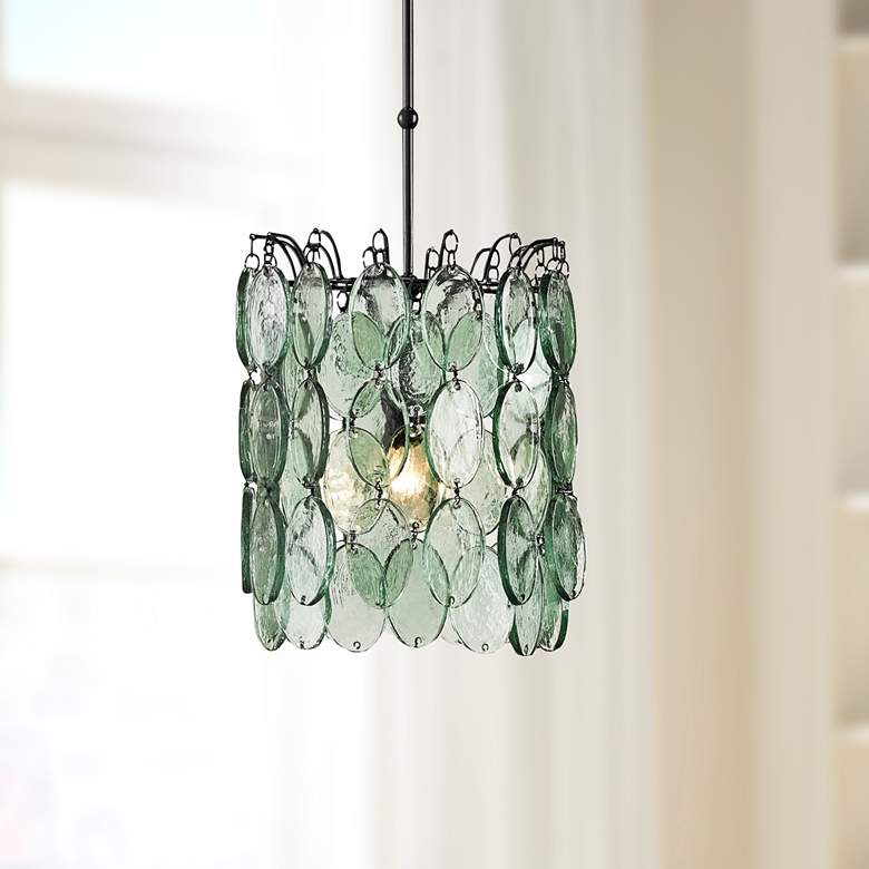 "Currey and Company Airlie 14""W Recycled Glass Pendant"