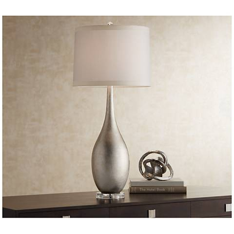 Possini Euro Design Silverleaf Buffet Console Table Lamp