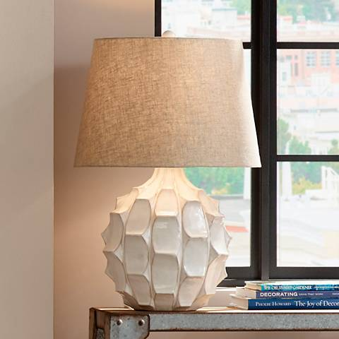 cosgrove round mid century white ceramic table lamp 2h898 lamps plus. Black Bedroom Furniture Sets. Home Design Ideas