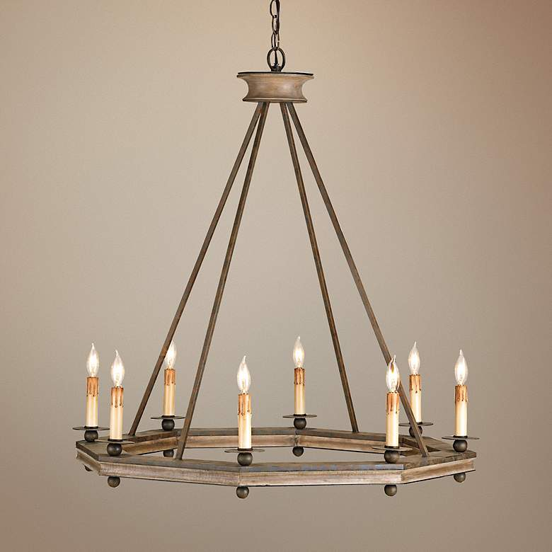 "Currey and Company Bonfire 32"" Wide Rust Wood Chandelier"