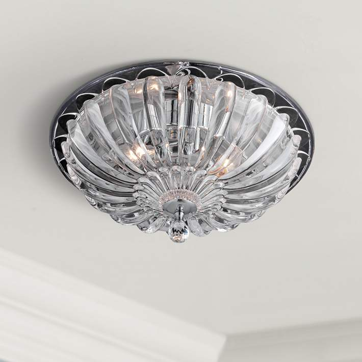 W Scalloped Gl Ceiling Light