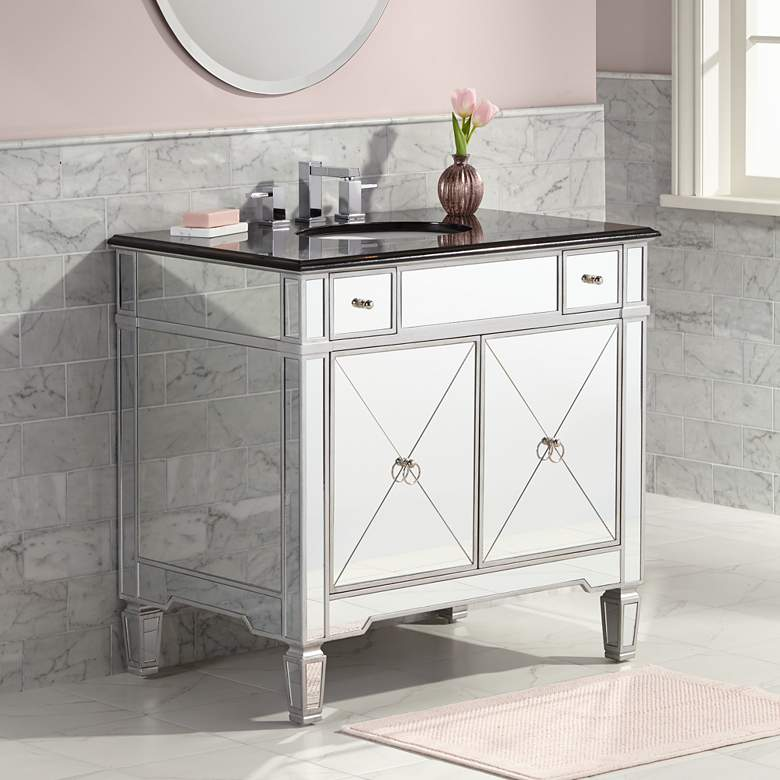"Mackenzie Mirrored and Granite 36""W Bathroom Sink Vanity"