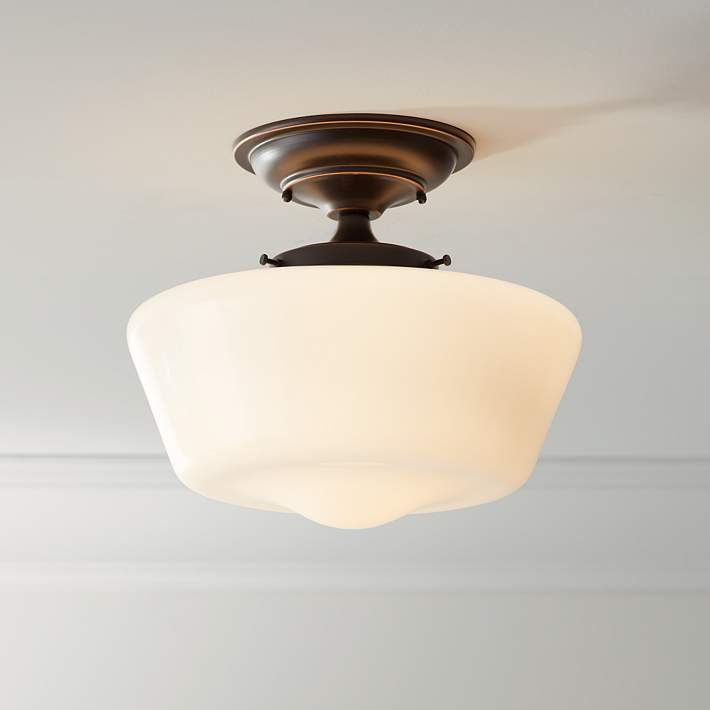 Wide Bronze Opaque Ceiling Light