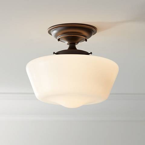 Schoolhouse Floating 12 Wide Bronze Opaque Ceiling Light