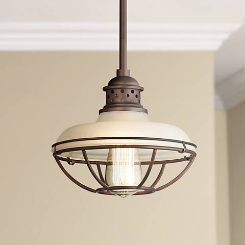 "Franklin Park Bronze 8 1/2"" Wide Wht Glass LED  Mini Pendant"