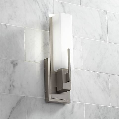 Possini Euro Midtown 15 Quot High Satin Nickel Led Wall Sconce