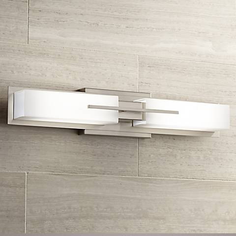 Possini Euro Midtown 23 1 2 W Satin Nickel Led Bath Light 2m681 Lamps Plus